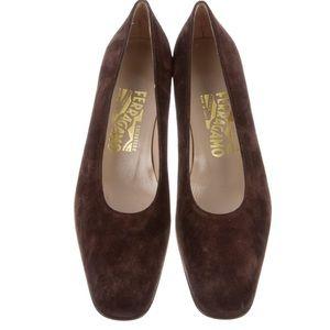 Salvatore Ferragamo brown suede block heel pumps